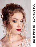 girl with evening makeup and... | Shutterstock . vector #1297595500