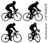 set silhouette of a cyclist... | Shutterstock .eps vector #1297608649