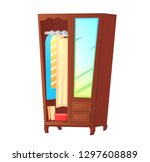 wood wardrobe with mirror on... | Shutterstock .eps vector #1297608889