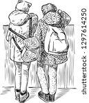 a sketch of schoolgirls having...   Shutterstock .eps vector #1297614250
