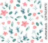 spring pattern of flowers and... | Shutterstock . vector #1297614973