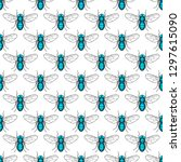 seamless pattern of the fly... | Shutterstock .eps vector #1297615090