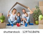 happy family with two kids... | Shutterstock . vector #1297618696