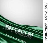 saudi arabia  flag of silk with ... | Shutterstock . vector #1297640953