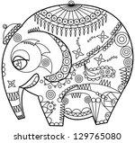 exotic ornated elephant outline | Shutterstock .eps vector #129765080