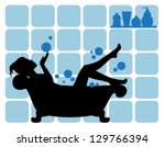 elegant female silhouette on...   Shutterstock .eps vector #129766394