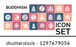 buddhism icon set. 19 filled... | Shutterstock .eps vector #1297679056