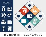 pocket icon set. 13 filled... | Shutterstock .eps vector #1297679776