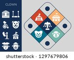 clown icon set. 13 filled... | Shutterstock .eps vector #1297679806