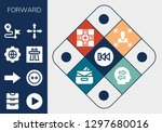 forward icon set. 13 filled... | Shutterstock .eps vector #1297680016