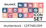 balance icon set. 19 filled... | Shutterstock .eps vector #1297681309