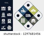 rail icon set. 13 filled rail... | Shutterstock .eps vector #1297681456