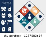 costume icon set. 13 filled... | Shutterstock .eps vector #1297683619