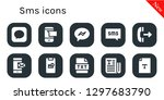 sms icon set. 10 filled sms...