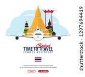 thailand. time to travel banner.... | Shutterstock .eps vector #1297694419