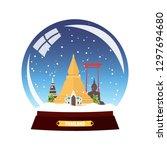 snow globe city. thailand in... | Shutterstock .eps vector #1297694680