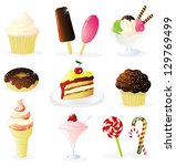 set of sweets icons. eps 10... | Shutterstock .eps vector #129769499