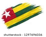 brush painted togo flag. hand... | Shutterstock . vector #1297696036