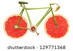 Stock photo one on the battlefield can still be the best road bicycle made of fruits and vegetables on white 129771368
