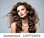 beautiful caucasian woman with... | Shutterstock . vector #1297724053