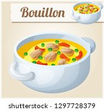 bouillon with meat and... | Shutterstock . vector #1297728379