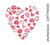hand drawn kisses and hearts... | Shutterstock . vector #1297746520