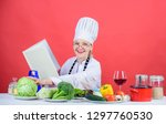culinary expert. female in hat...   Shutterstock . vector #1297760530