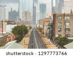 chicago  railway view with city ... | Shutterstock . vector #1297773766