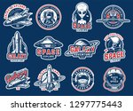 vintage colorful space badges... | Shutterstock .eps vector #1297775443