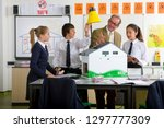 teacher and students with eco... | Shutterstock . vector #1297777309