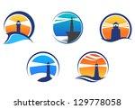 colorful lighthouse symbols set ... | Shutterstock .eps vector #129778058