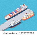 isometric city industrial dock... | Shutterstock .eps vector #1297787020