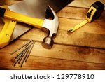 hammer  nails  tape measure and ... | Shutterstock . vector #129778910