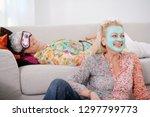 senior women friends in sleep... | Shutterstock . vector #1297799773
