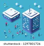 modern 3d city isometric three... | Shutterstock .eps vector #1297801726