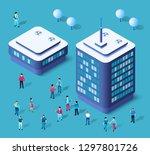 modern 3d city isometric three... | Shutterstock .eps vector #1297801726