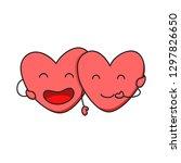 two happy hearts in love. cute... | Shutterstock .eps vector #1297826650