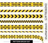crime line tape. police danger... | Shutterstock .eps vector #1297836043