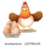 Illustration Of A Hen With Eggs ...