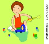 illustration of a little girl... | Shutterstock .eps vector #129784520