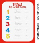 math number tracing worksheets... | Shutterstock .eps vector #1297848046
