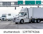 big rig day cab semi truck with ... | Shutterstock . vector #1297874266