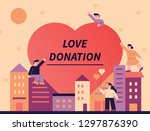 a love poster with a big heart... | Shutterstock .eps vector #1297876390
