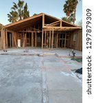 house being framed with lumber | Shutterstock . vector #1297879309
