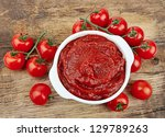 tomatoes paste with ripe... | Shutterstock . vector #129789263