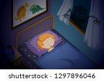 a girl sleeping nightmare... | Shutterstock .eps vector #1297896046