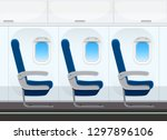 airplane seat in the cabin...   Shutterstock .eps vector #1297896106