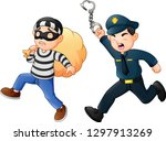 policeman tries to chase a thief | Shutterstock .eps vector #1297913269