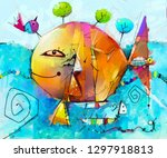 abstract colorful fantasy oil ... | Shutterstock . vector #1297918813