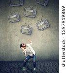 multiple tv sets falling on a... | Shutterstock . vector #1297919869